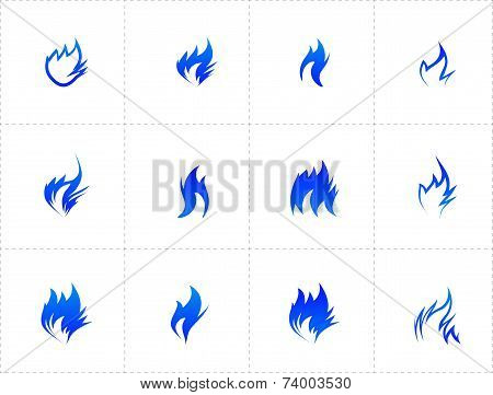 Gas fire icon set