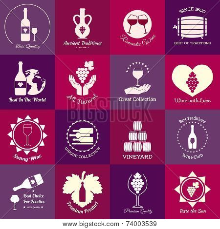 Wine emblems set