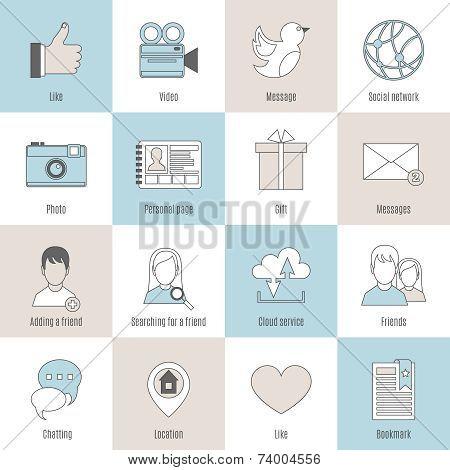 Social icons flat line set