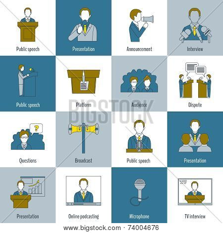 Public speaking icons flat line