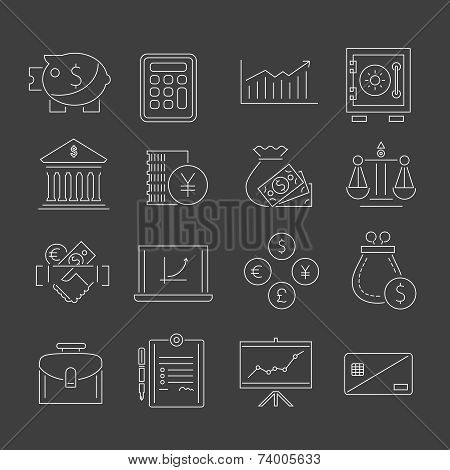 Finance icons set outline