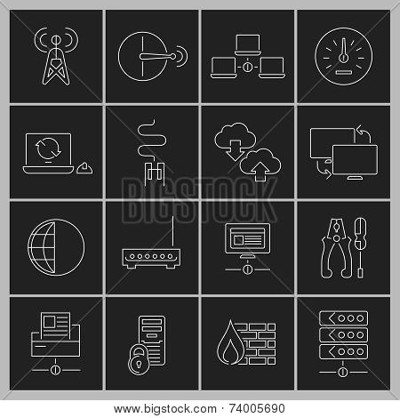 Network icons set outline