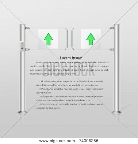 Vector illustration of double turnstile with green arrows