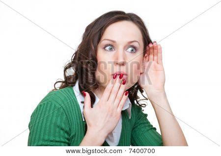Amazed Woman Eavesdroping
