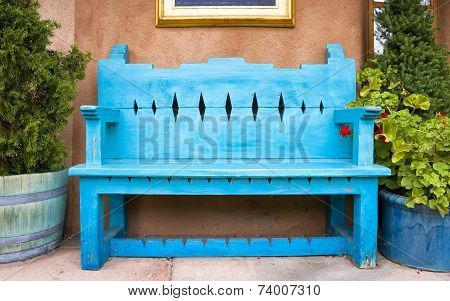 Antique Wooden Bench In Santa Fe