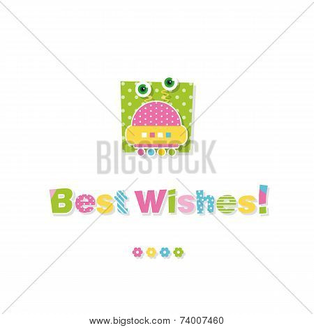 cute baby robot best wishes greeting card