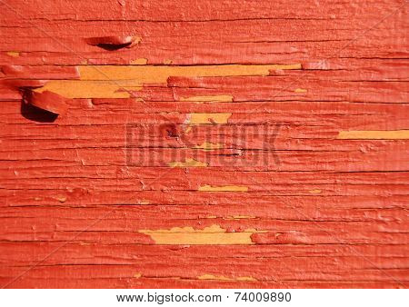 Worn Yellow Wood With Red Exfoliated Paint