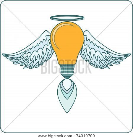 Glowing Light Bulb  with Angel Wings,  Halo and a Flame. Stock Vector