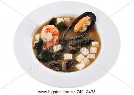 Chinese Soup With Mussels, Mushrooms, Diced Cheese And Shrimp.
