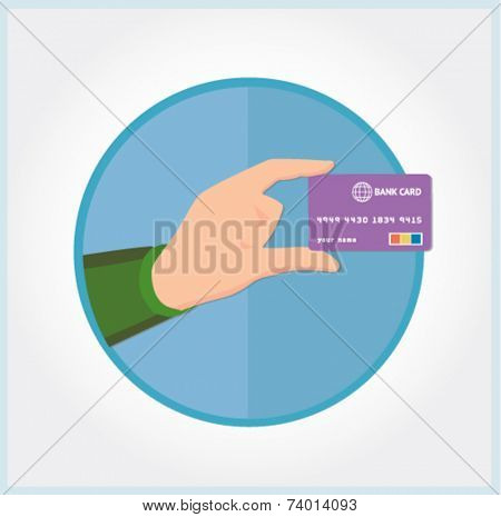 hand with a credit card - flat design vector