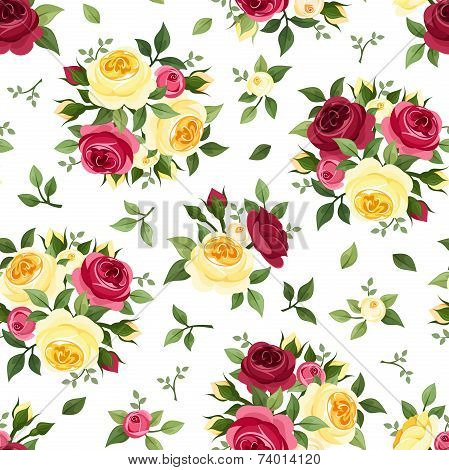 Seamless pattern with red and yellow roses on white. Vector illustration.