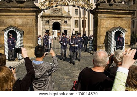 Prague Castle. Changing Of The Guard