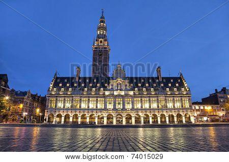 The University Library In The Evening, Leuven, Belgium