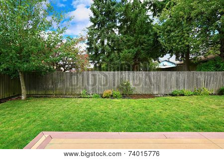 Backyard With Old Wooden Fence