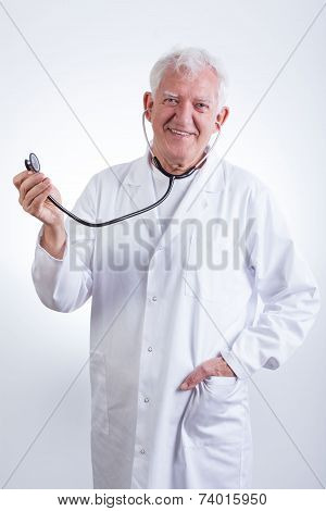 Practiced Doctor With Stethoscope