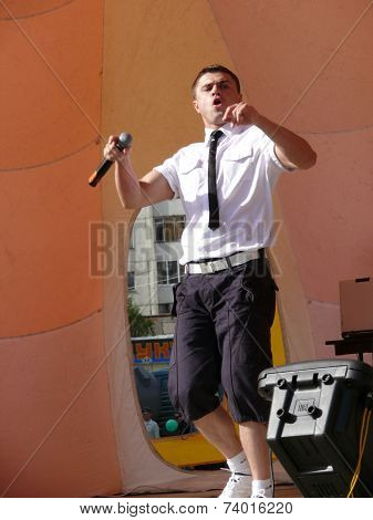 Nadym, Russia - June 28, 2008: Nikolai Hauler Takes The Stage On The Feast Day Of The City.
