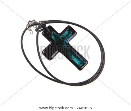 Colorful cross with black lanyard