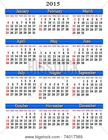 Calendar For Next 2015 Year With Blue Ribbon