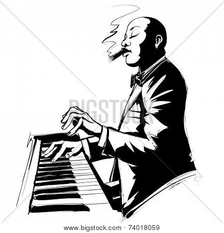 Jazz pianist in black and white smoking cigar - Vector illustration