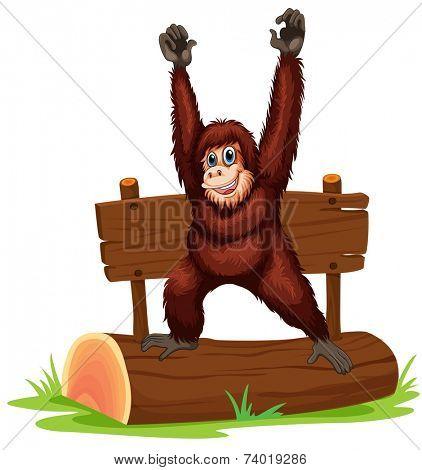 Illustration of an orangutan standing on a log