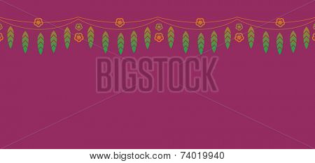 Vector design. A row of mango leaves and marigold flower. An indian festive motifs.