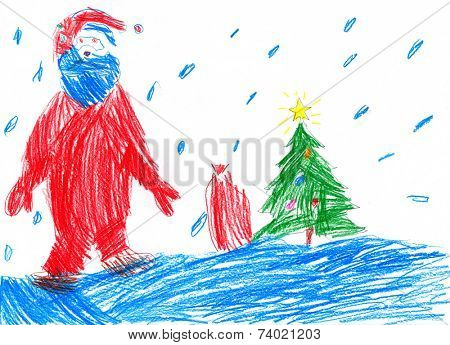 Santa goes on snow. Child drawing.