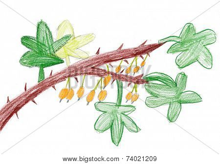 yellow berries on a branch. child drawing