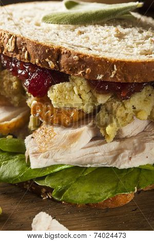 Homemade Leftover Thanksgiving Dinner Turkey Sandwich