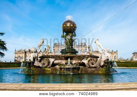 Atlas Fountain At Castle Howard, North Yorkshire, Uk
