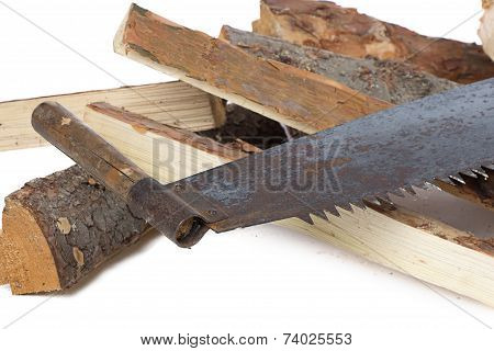 Image of handsaw and woods
