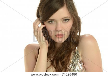 Portrait of young woman isolated on a white background