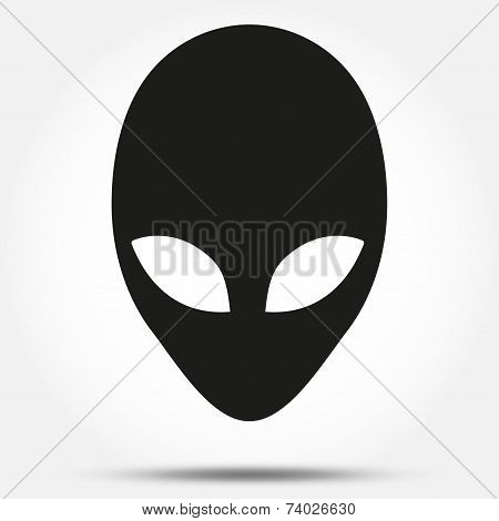 Silhouette symbol of Alien head creature from another world. Vector.