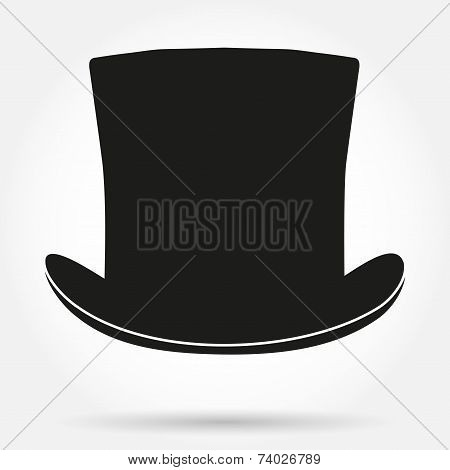 Silhouette symbol of black gentleman hat cylinder vector background