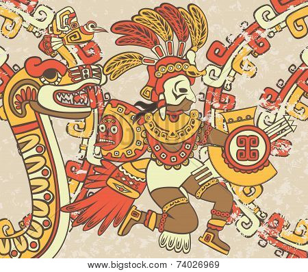 Bright background in the Aztec style