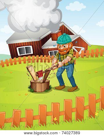 Illustration of a lumber jack chopping wood