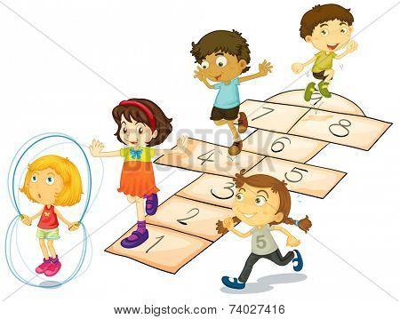 Illustration of many children playing hopscotch