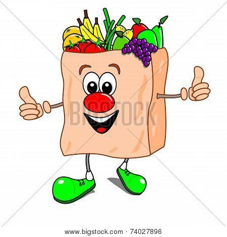 Cartoon bag of fruit and veg