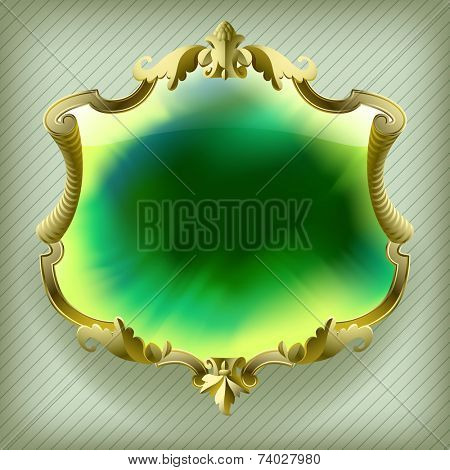 Vector gold baroque frame with green Ink blot background