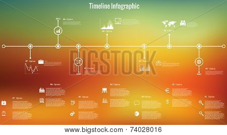 Time Line Infographics Blurred Background