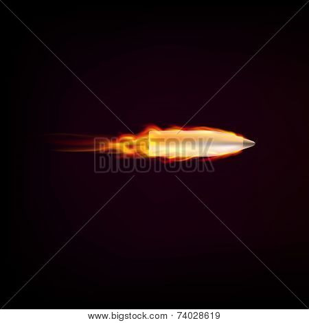 Flying bullet with red tongues of flame
