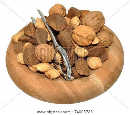 Mixed Nuts In Wooden Dish