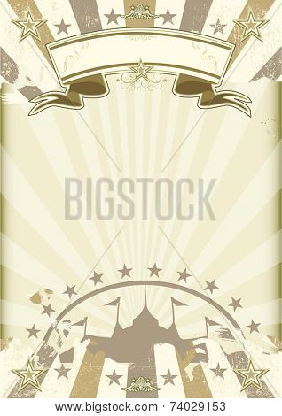 kraft paper circus sunbeams poster. A circus background on a  kraft grunge paper. Ideal poster for your show