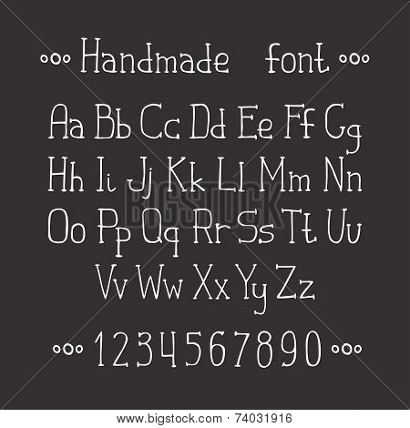 Simple monochrome hand drawn font. Complete abc alphabet set. Vector letters and numbers. Doodle typ