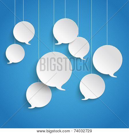 White Speech Bubbles Blue Sky