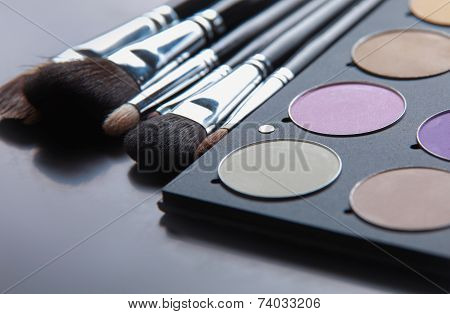 Professional cosmetics, palette with eyeshadow, make-up