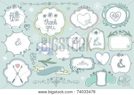 Doodle colored  labels, badges,frame,decor element Winter set