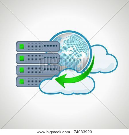 Cloud technologies. Computer icon server. design element