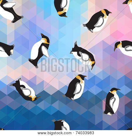 Abstract Blue Crystal Ice Background With Penguin. Seamless Pattern, Use As A Surface Texture