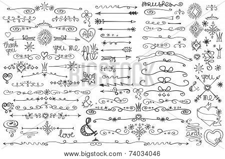 Doodle border,arrows,decor element,snowflakes.Winter love