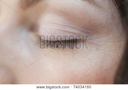 Closeup Of Womans Eye Lash